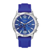Caravelle New York® Mens Blue Round Dial with Blue Rubber Strap Chronograph