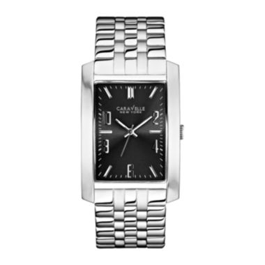 jcpenney.com | Caravelle New York® Mens Gray Rectangle Dial with Silver-Tone Watch 43A118