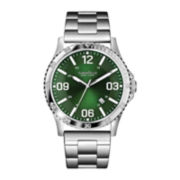 Caravelle New York® Mens Green Round Dial with Silver-Tone Bracelet Watch