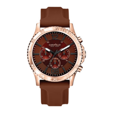 jcpenney.com | Caravelle New York® Mens Brown Dial Brown Silicone Strap Watch 44A102