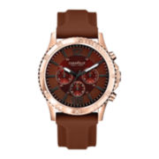 Caravelle New York® Mens Brown Round Dial & Brown Rubber Strap Chronograph