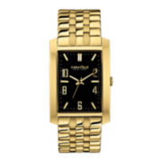 Caravelle New York® Mens Black Rectangle Dial & Gold-Tone Bracelet Watch