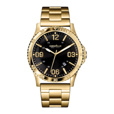 jcpenney.com | Caravelle New York® Mens Black Round Dial & Gold-Tone Bracelet Watch 44B104