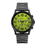 Caravelle New York® Mens Green Round Dial & Black Bracelet Chronograph Watch