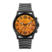 Caravelle New York® Mens Orange Round Dial & Black Bracelet Chronograph Watch