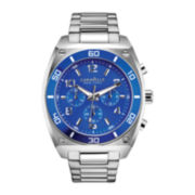 Caravelle New York® Mens Blue Round Dial & Silver-Tone Bracelet Chronograph