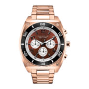 Caravelle New York® Mens Brown Round Dial & Rose-Tone Bracelet Chronograph