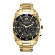 Caravelle New York® Mens Black Round Dial & Gold-Tone Bracelet Chronograph