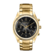 Caravelle New York® Womens Black Dial & Gold-Tone Bracelet Chronograph Watch