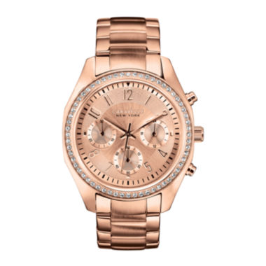 jcpenney.com | Caravelle New York® Womens Rose-Tone Bracelet Chronograph Watch 44L117