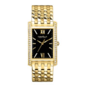 Caravelle New York® Womens Black Rectangle Dial & Gold-Tone Bracelet Watch