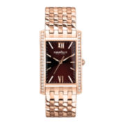 Caravelle New York® Womens Brown Rose-Tone Bracelet Watch