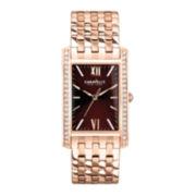 Caravelle New York® Womens Brown Rose-Tone Bracelet Watch