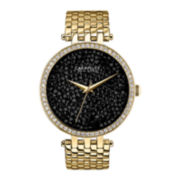 Caravelle New York® Womens Black Round Dial & Gold-Tone Bracelet Watch