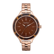 Caravelle New York® Womens Faux-Tortoise Bezel & Rose-Tone Bracelet Watch