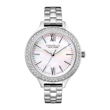 jcpenney.com | Caravelle New York® Womens Mother-of-Pearl Dial Silver-Tone Watch 43L165