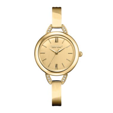 jcpenney.com | Caravelle New York® Womens Champagne Dial & Gold-Tone Bangle Watch 44L129