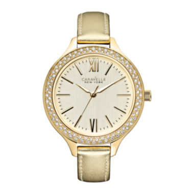 jcpenney.com | Caravelle New York® Womens Gold-Tone Dial & Leather Strap Watch 44L131