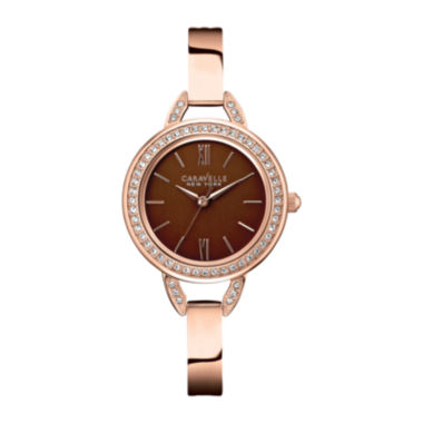 jcpenney.com | Caravelle New York® Womens Brown with Rose-Tone Bangle Watch 44L134