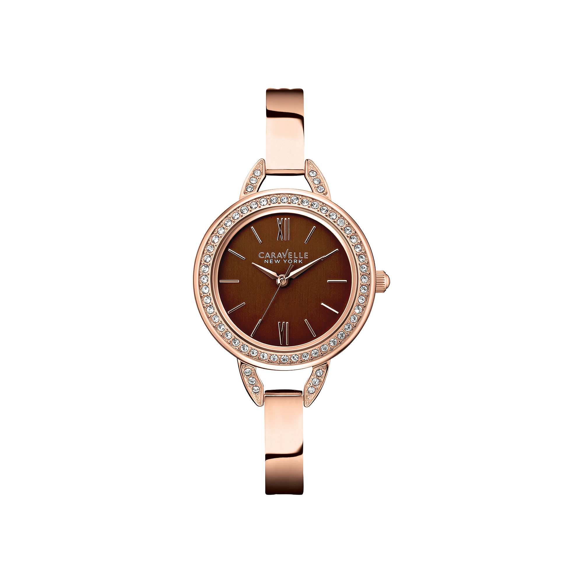 Caravelle New York Womens Brown with Rose-Tone Bangle Watch 44L134