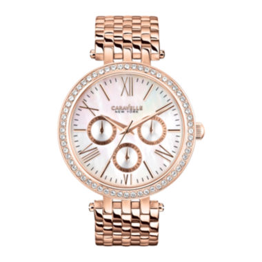 jcpenney.com | Caravelle New York® Womens Mother-of-Pearl with Rose-Tone Bracelet Watch 44N101