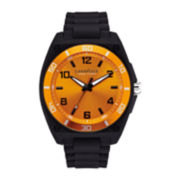 Caravelle New York® Mens Orange Dial Black Silicone Strap Watch