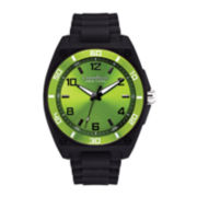 Caravelle New York® Mens Green Dial Black Silicone Strap Watch