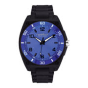 Caravelle New York® Mens Blue Dial Black Silicone Strap Watch