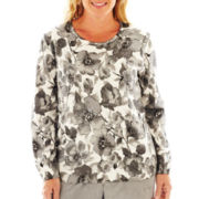 Alfred Dunner® Swiss Alps Floral Print Sweater - Plus