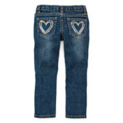 Arizona Heart Pocket Skinny Jeans - Girls 2t-6