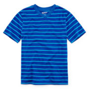 Arizona Short-Sleeve Striped Knit V-Neck Tee - Boys 8-20 and Husky