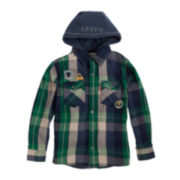Levi's® Button-Front Hooded Plaid Twill Shirt – Boys 8-20