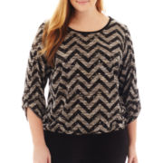 Alyx® 3/4-Sleeve Banded Chevron Top - Plus
