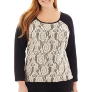 Alyx® Long-Sleeve Lace-Trim Hachi Top - Plus