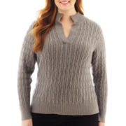 Liz Claiborne® Long-Sleeve Split-Neck Sweater - Plus