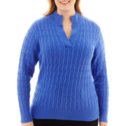 Liz Claiborne® Long-Sleeve Split-Neck Sweater - Plus