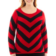 Liz Claiborne® Long-Sleeve Chevron Sweater - Plus