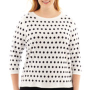 Liz Claiborne® 3/4-Sleeve Dot Sweater - Plus