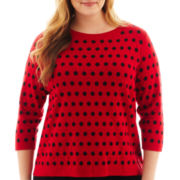 Liz Claiborne 3/4-Sleeve Dot Sweater - Plus