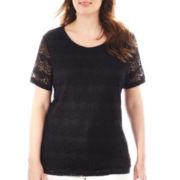Liz Claiborne® Short-Sleeve Crochet Top - Plus