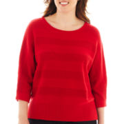 Liz Claiborne® 3/4-Sleeve Stitch-Striped Sweater - Plus