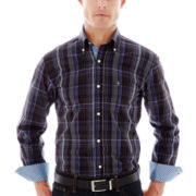 TailorByrd Long-Sleeve Plaid Woven Shirt