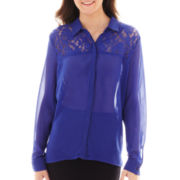 Olsenboye® Long-Sleeve Lace-Yoke Top