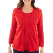 Alfred Dunner® 3/4-Sleeve Solid Layered Sweater