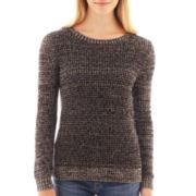 a.n.a® Long-Sleeve Mesh Stitch Sweater - Petite