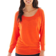 a.n.a® Long-Sleeve Pointelle-Neck Sweater - Petite