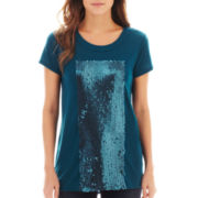 a.n.a® Short-Sleeve Sequin-Panel Tee - Petite
