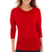 a.n.a® Long-Sleeve Drape-Neck Top