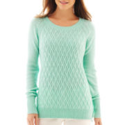 jcp™ Long-Sleeve Diamond Cable Sweater - Tall