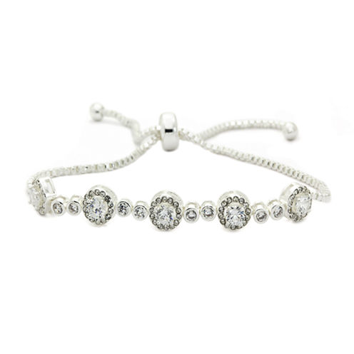 Sparkle Allure Clear Round Cubic Zirconia Stone Silver Adjustable Bracelet